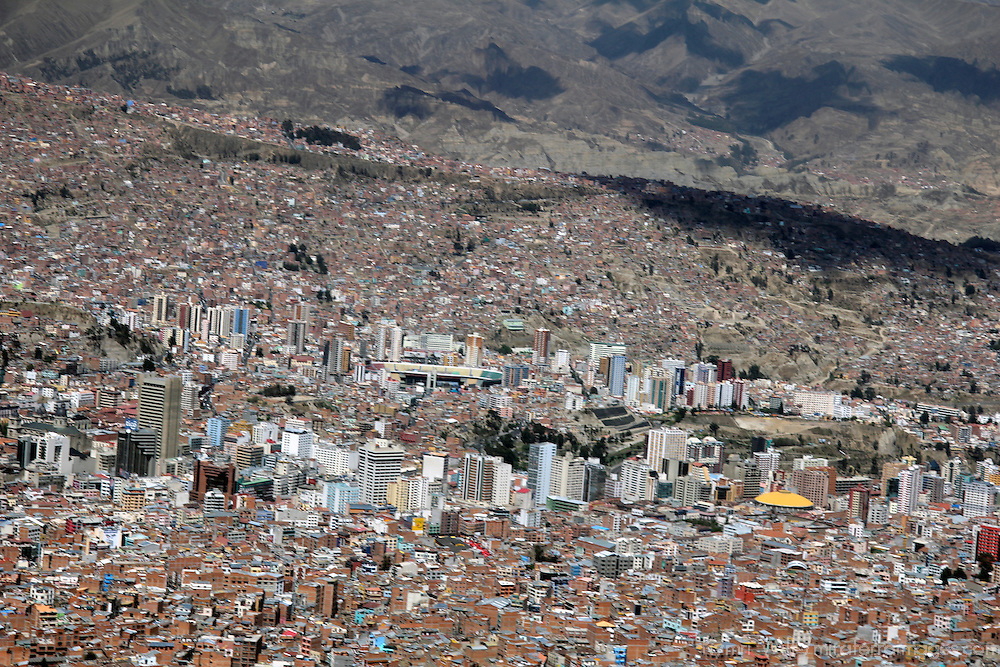 South America, Bolivia, La Paz. Scenic vista of the city of La Paz.