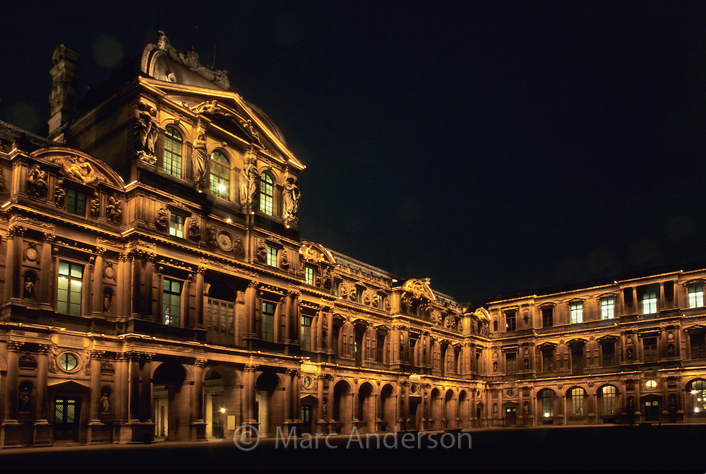 The louvre at night paris france