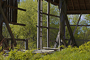 Photograph by Leandra Melgreen Lewis of Wisconsin dairy barn in need of repair.  Barn structure is exposed and nature is taking over.