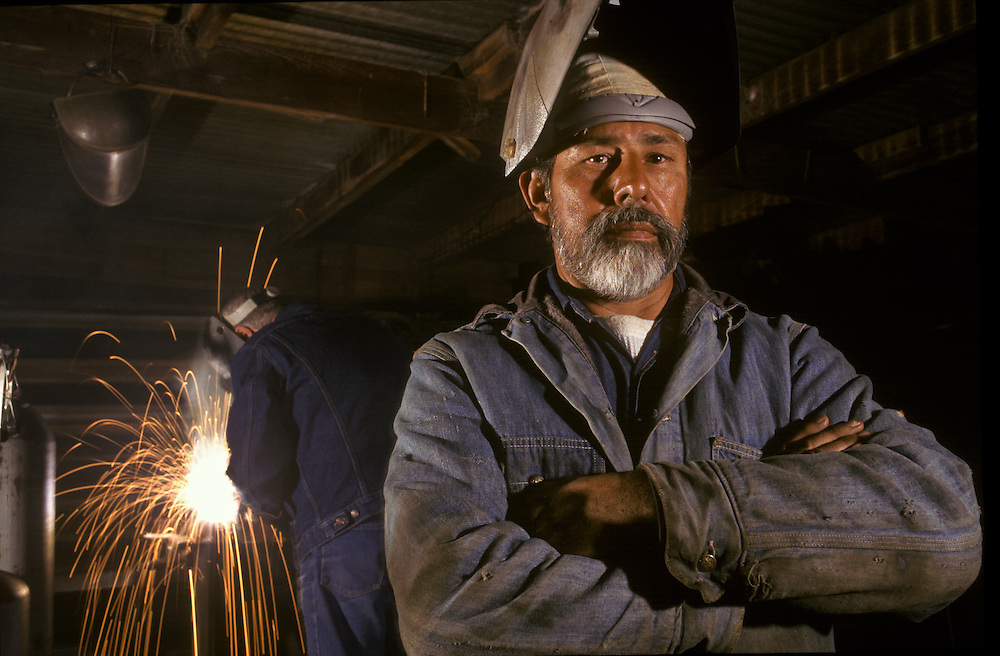 Portrait of welder in his shop, West Columbia, Texas