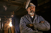 Portrait of welder in his shop, West Columbia, Texas