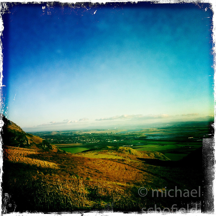 Sun at Dumyat hill at the western extremity of the Ochil Hills in central Scotland..Hipstamatic images taken on an Apple iPhone..©Michael Schofield.