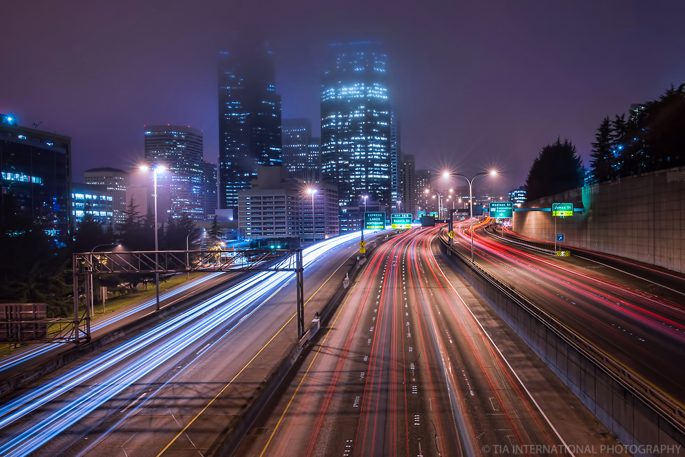 Interstate 5, Downtown Seattle (color)