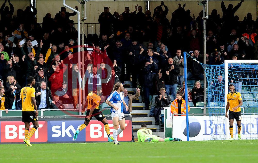 Newport County celebrate their second goal - Mandatory byline: Neil Brookman/JMP - 07966 386802 - 24/10/2015 - FOOTBALL - Memorial Stadium - Bristol, England - Bristol Rovers v Newport County AFC - Sky Bet League Two