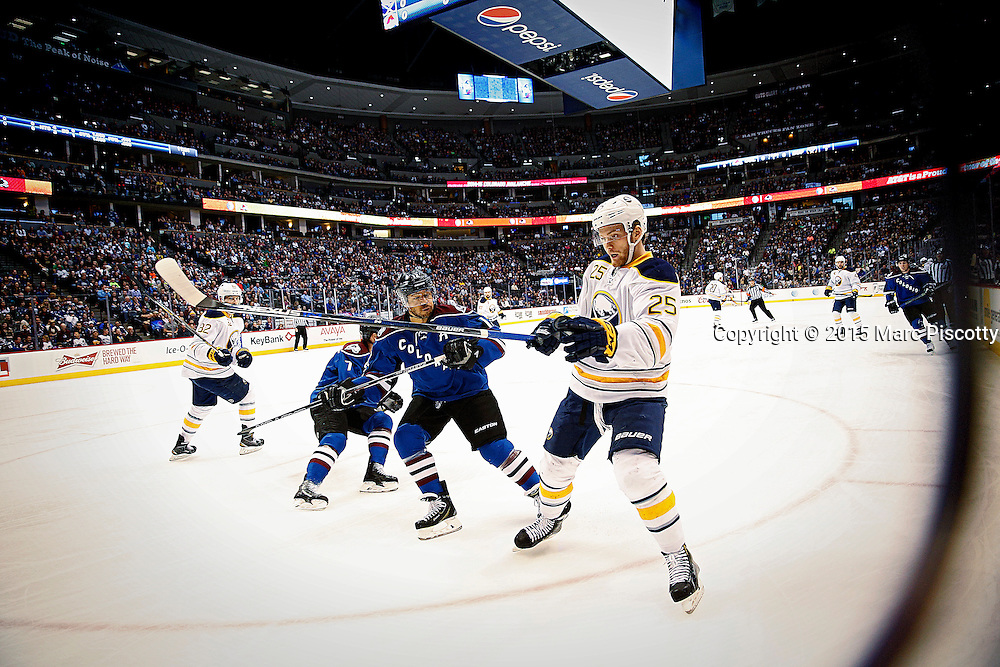 SHOT 3/28/15 7:21:19 PM - The Buffalo Sabres' Mikhail Grigorenko #25 plays against the Colorado Avalanche during their regular season NHL game at the Pepsi Center in Denver, Co. The Avalanche won the game 5-3. (Photo by Marc Piscotty / © 2015)