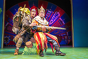 Lovingly ripped off from the classic film comedy Monty Python and the Holy Grail, Spamalot is making a triumphant return to the London West End, at the Harold Pinter Theatre. Featuring Jon Culshaw as King Arthur, Marcus Brigstock as Sir Lancelot, Bonnie Langford as The Lady of the Lake and Todd Carty as Patsy. Picture shows Jon Culshaw and Todd Carty.