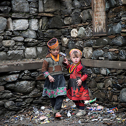 Bumburet, Chitral District,Pakistan.Pic Shows Kalash girls in the valley of Bumburet