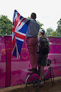 Spectators try to get a view of the mens triathalon in Hyde Park, Central London