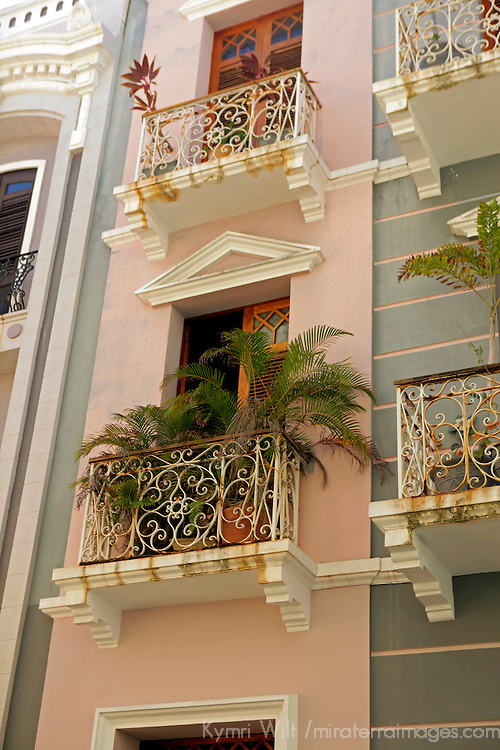 USA, Puerto Rico, San Juan. Facades of Old San Juan architecture of Puerto Rico.