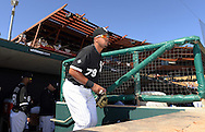 GLENDALE, AZ - MARCH 05:  Jose Abreu #79 of the Chicago White Sox looks on from the dugout prior to the spring training game between the Los Angeles Dodgers and Chicago White Sox on March 5, 2015 at The Ballpark at Camelback Ranch in Glendale, Arizona. (Photo by Ron Vesely)   Subject:  Jose Abreu