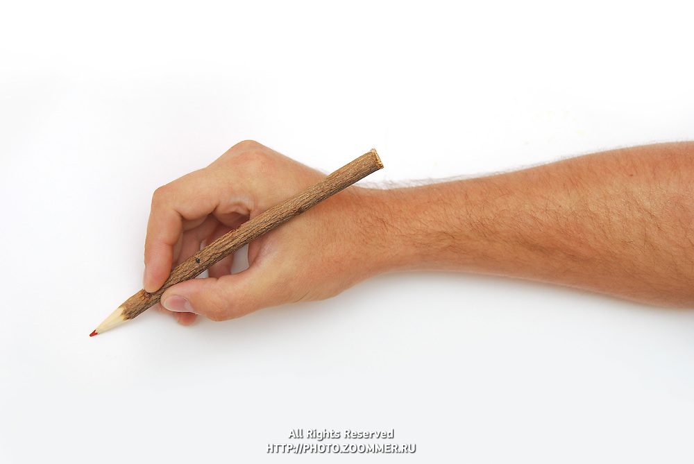 Hand With Pencil Over White Background Travel Stock Photos