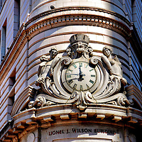 Clock Over Lionel J. Wilson Building in Oakland, California<br />