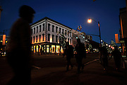 Visitors and locals alike walks shop at the galleries, and restaurants along Broughton Street in historic downtown Savannah, Ga. (Photo by Stephen Morton)