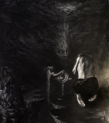 "For ABAZAGORATH The Satanic Verses. Acrylic, mixed media on paper 48"" x 55"" (122 cm x 140 cm) 2/15/14"