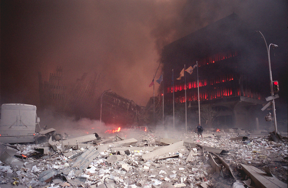 9/11/01, NEW YORK CITY, NEW YORK, UNITED STATES --- The scene of the collapsed Twin Towers- the burning World Trade Center. --- Photo by Neville Elder/Corbis Sygma