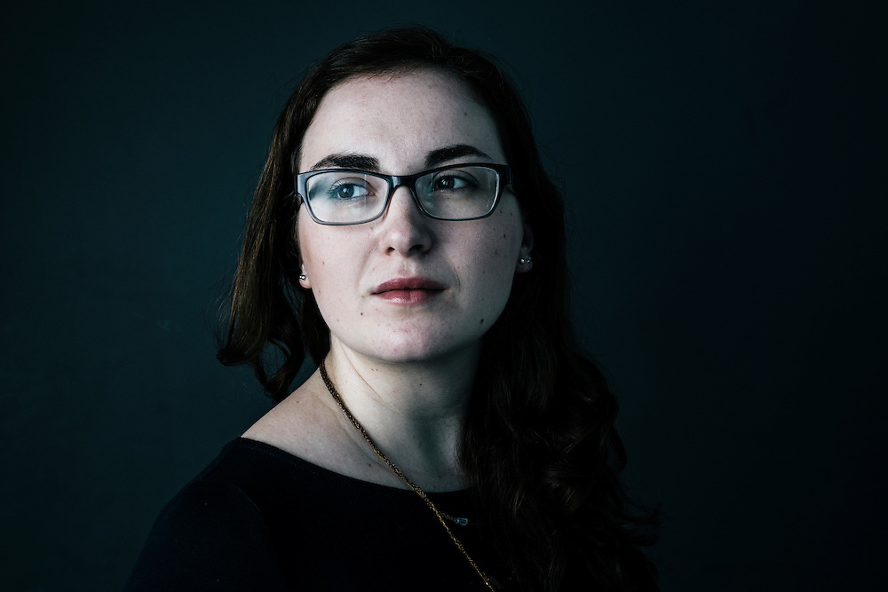 Hannah Groch-Begley, a<br /> Research Fellow<br /> for Media Matters for America at her office in Washington, D.C. on Sept. 14, 2015.