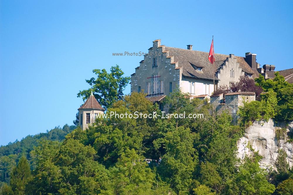 Switzerland,  Rhinefall Schaffhausen, Rhine Falls on the river Rhine, building overlooking the site