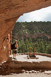 A visitor to Bandelier National Monument takes in the beauty of New Mexico.