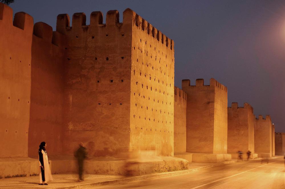 City wall at twilight, Taroudant, Morocco