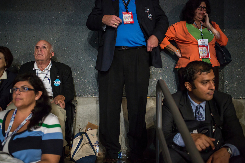 Delegates in the far back of the arena hall at the Democratic National Convention on Tuesday, September 4, 2012 in Charlotte, NC.