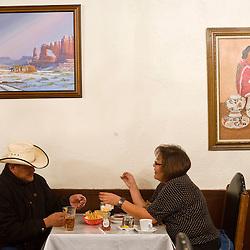 Lula and Gilbert Phillips eat dinner at El Rancho Restaurant.