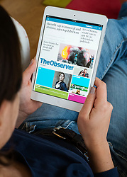 Woman reading digital edition of The Observer on an iPad mini tablet computer