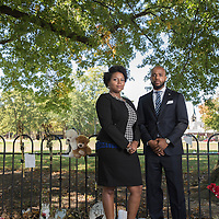 Attorneys, Chandra Brown and Sean Walton are representing the families of both Henry Green and Tyre King. Pictured here at the Tyree King memorial in Olde Towne East.(Jodi Miller)