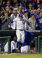 CHICAGO, IL - OCTOBER 7:  Javier Baez #9 the Chicago Cubs acknowledges the fans after hitting a solo, game winning home run in the eighth inning during Game 1 of NLDS against the San Francisco Giants at Wrigley Field on Friday, October 7, 2016 in Chicago, Illinois. (Photo by Ron Vesely/MLB Photos via Getty Images) *** Local Caption *** Javier Baez