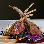 Pistachio and pumpkin crusted rack of lamb over garlic sautéed kale with a parsnip puree at Abigail's Grille and Wine Bar, Conn., Saturday, Feb. 20, 2016. (Jessica Hill for the New York Times)