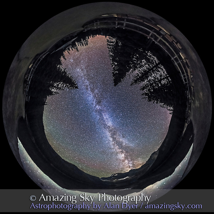 A 360&deg; panorama of the Milky Way and night sky taken at Cameron Lake in Waterton Lakes National Park, Alberta, Canada. I shot this Sept 21, 2014 on a very clear night with no noticeable aurora and very little airglow. The ground is lit solely by starlight. The lake was very calm and reflects the southern Milky Way.<br /> <br /> This is a stitch of 8 segments, each shot with the 15mm full-frame fisheye lens, for 1 minute at f/2.8 and with the Canon 6D at ISO 4000. I used PTGui to stitch the segments, with this version being a spherocal fish-eye projection.