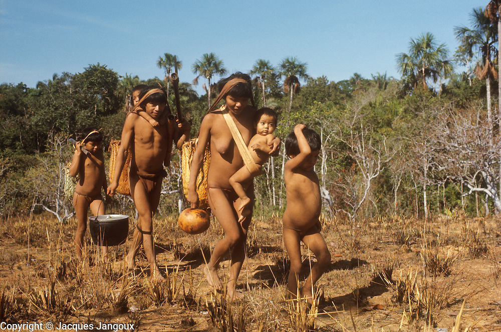 Venezuela, Guiana Highlands: semi-nomadic Indians travelling in savanna, during seasonal deplacement between rainforest and savanna according to availability of natural resources. Both men and women carry small children.