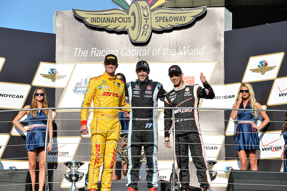 Simon Pagenaud, Ryan Hunter-Reay and Helio Castroneves, Grand Prix of Indianapolis, Indianapolis Motor Speedway, Indianapolis, IN USA 5/10/2014