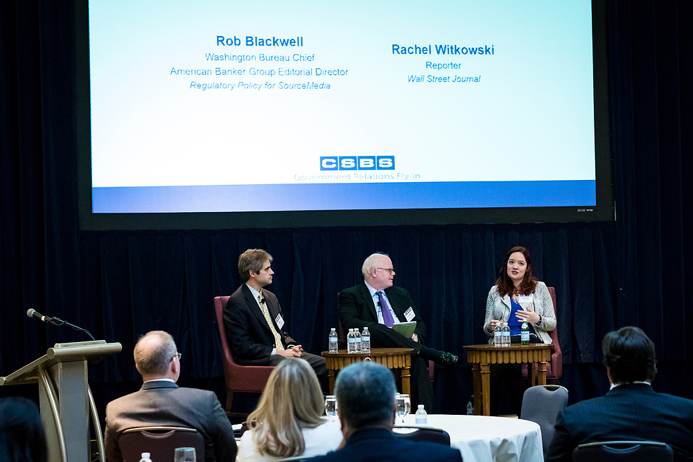 Rob Blackwell and Rachel Witkowski participate in a panel discussion during the 2017 CSBS Fly-In at the Mayflower Hotel in Washington, D.C. on March 29, 2017.