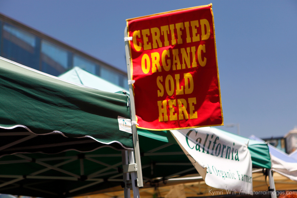 USA, California, Los Angeles. Certified Organic sign at the Hollywood Farmer's Market.