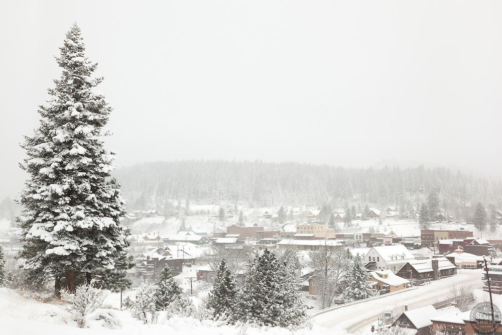 """Downtown Truckee 20"" - Photograph of a snow covered Downtown Truckee, California."