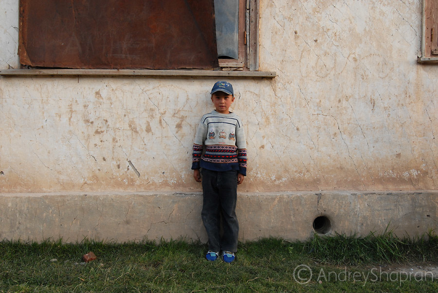 A portrait of a Kyrgyz boy