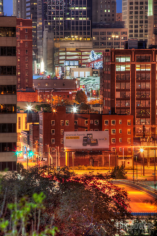 Part of downtown Kansas City Missouri at sunset in August 2011. Looking from Liberty Memorial through the Crossroads District toward the downtown loop.