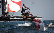Extreme Sailing Series 2011. Leg 1. Muscat. Oman.Team New Zealand during a practice day.