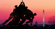 Virginia, United States Marine Corps War Memorial stands on a promontary at the north end of Arlington National Cemetery, Washington DC