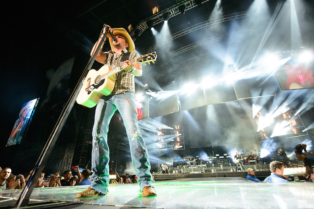 Jason Aldean performing at Fenway Park in Boston on July 13, 2013.