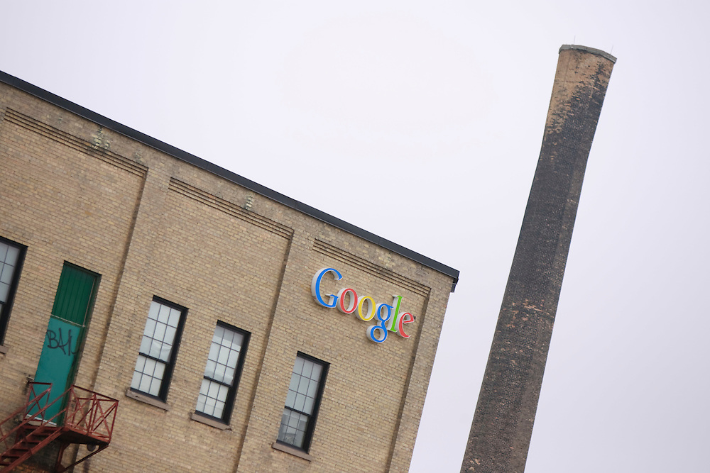 Kitchener, ONT.: May 18, 2011 --  <br /> The new office of Google in Kitchener, Ontario seen here Wednesday, May 18, 2011 is in an old tannery building in the downtown.<br /> (GEOFF ROBINS for National Post)