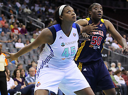 June 3, 2012; Newark, NJ, USA; New York Liberty forward Kara Braxton (45) and Indiana Fever center Jessica Davenport (50) battle for position during the second half at the Prudential Center. The Liberty defeated the Fever 87-72.