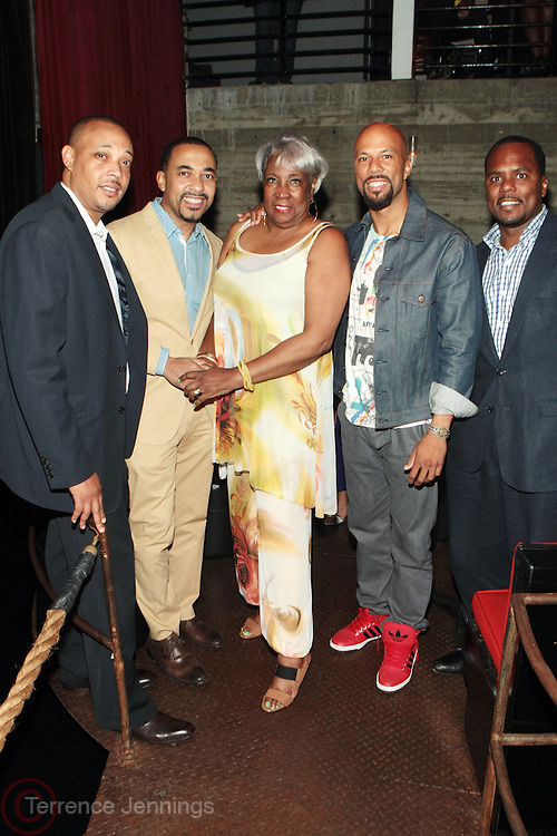 12 September 2013- Brooklyn, NY: (L-R) Dr. George Jenkins, Dr. Sampson Davis, Mattie L. Turner, Recording Artist/Actor Common and Dr. Remeck Hunt attend the Farewell to Summer 2013 Benefit Concert for the Ajile Turner Foundation held at the Galapagos Art Space on September 12, 2013 in Brooklyn, NY. ©Terrence Jennings