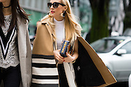Striped Coat and Studded Bag, Outside Armani FW2016