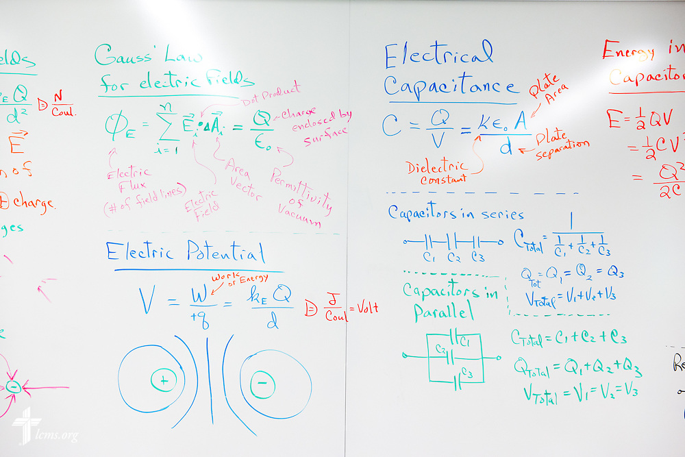 A white board in the renovated science building at Concordia University Ann Arbor on Thursday, July 3, 2014, in Ann Arbor, Mich. LCMS Communications/Erik M. Lunsford