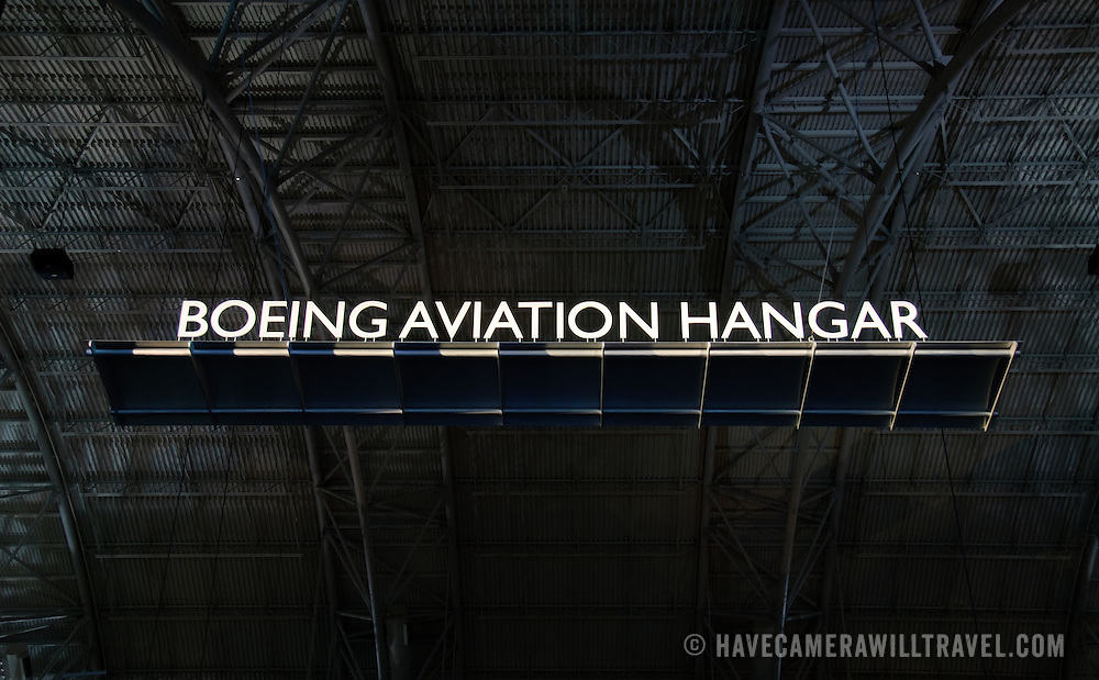Boeing Aviation Hall sign, suspended near the main entrance