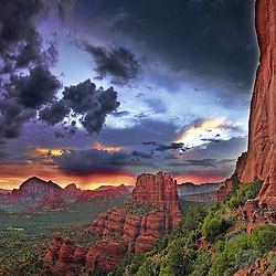 Perched high above Sedona watching the summer monsoons and a spectacular fiery sunset.