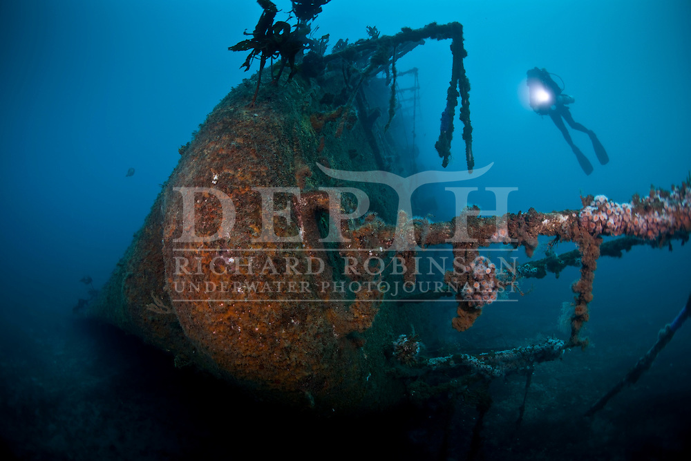 Underwater Photographer Ian Skipworth on the Wreck of the HMNZS Waikato (F55) a Leander class Frigate, after being decommissioned by the Royal New Zealand Navy serves as an artificial diving reef off the coast of Tutukaka, Northland, New Zealand..Saturday 03 September 2011..Photograph Richard Robinson © 2011..Dive Number: 376.Dive Buddy: Ian Skipworth..Site: Wreck HMNZS Canterbury, Northland..Temperature: 15 Degrees Celsius..Rebreather: Inspiration Vision. Total Time On Unit: 162:57 hh:mm.Mix : 21.Maximum Depth: 30.4 meters..Bottom Time: 76 minutes..Bottom Time to Date: 23,166 minutes..Cumulative Time: 23,242 minutes.