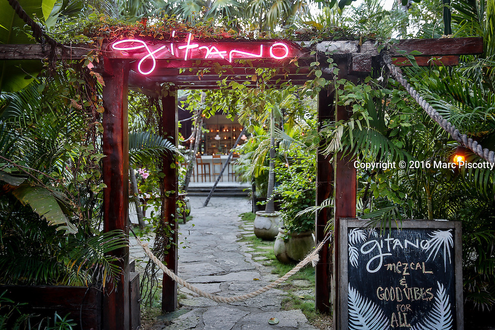 SHOT 12/8/16 4:38:28 PM - Gitano Mezcal Bar and Kitchen in the beach zone of Tulum, Mexico. Tulum is located in the Mayan Riviera and along the east coast of the Yucatán Peninsula on the Caribbean Sea in the state of Quintana Roo, Mexico. (Photo by Marc Piscotty / © 2016)