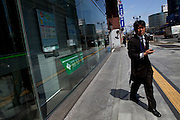 Businessman in Hiroshima's central shopping area